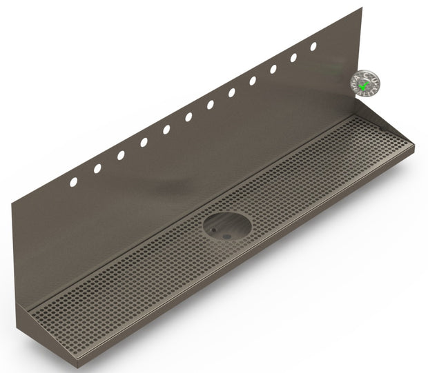 "Wall Mount Drip Tray with Drain and Rinser Hole | 8"" X 48"" X 14"" X 1"" 