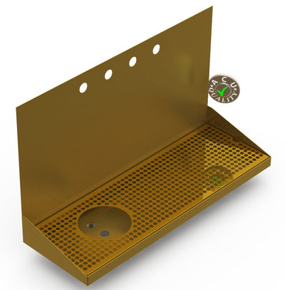 "Wall Mount Drip Tray with Left Drain and Rinser Hole | 8"" X 24"" X 14"" X 1"" 