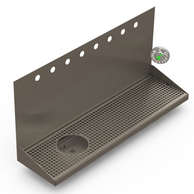 "Wall Mount Drip Tray with Left Drain and Rinser Hole | 8"" X 30"" X 14"" X 1"" 