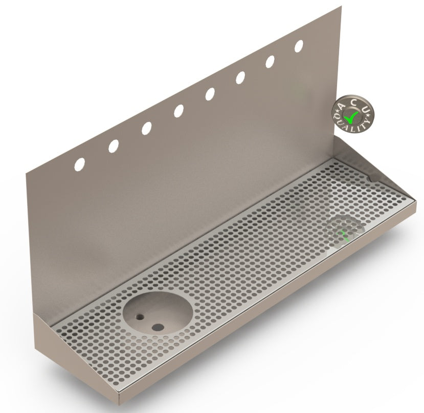 Wall Mount Drip Tray with Left Drain and Rinser Hole | 8