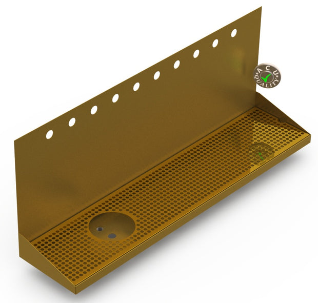 "Wall Mount Drip Tray with Left Drain and Rinser Hole | 8"" X 36"" X 14"" X 1"" 