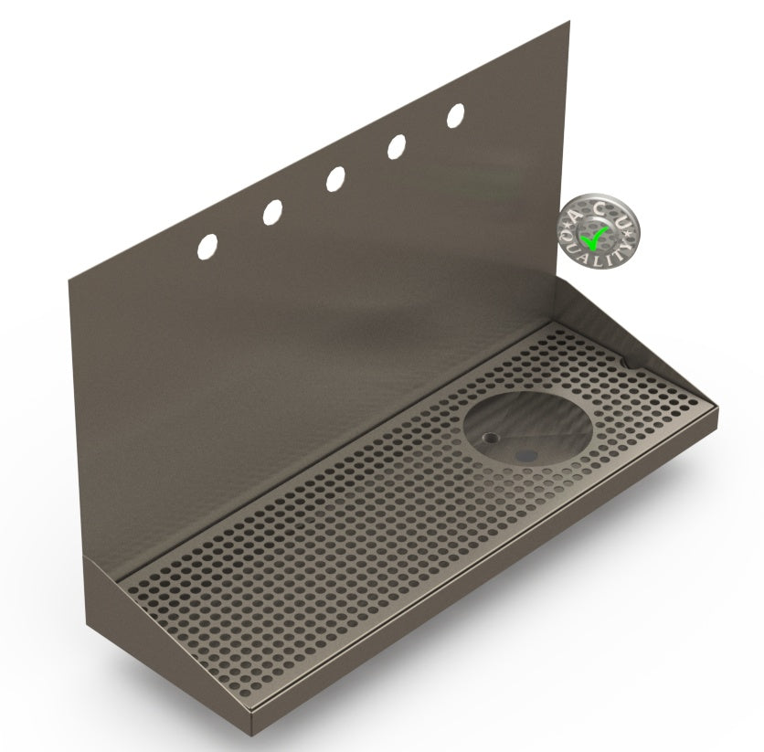 "Wall Mount Drip Tray with Right Drain and Rinser Hole | 8"" X 24"" X 14"" X 1"" 