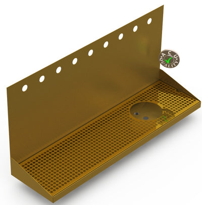 "Wall Mount Drip Tray with Right Drain and Rinser Hole | 8"" X 30"" X 14"" X 1"" 