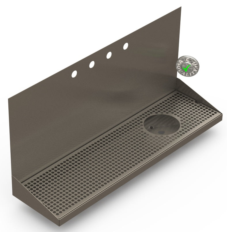 Wall Mount Drip Tray with Right Drain and Rinser Hole | 8