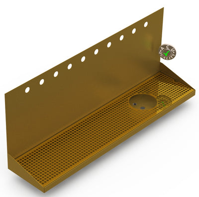 "Wall Mount Drip Tray with Right Drain and Rinser Hole | 8"" X 36"" X 14"" X 1"" 