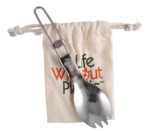 Stainless Steel Folding Spork with Pouch