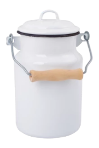 Enamel Milk Can - White with lid