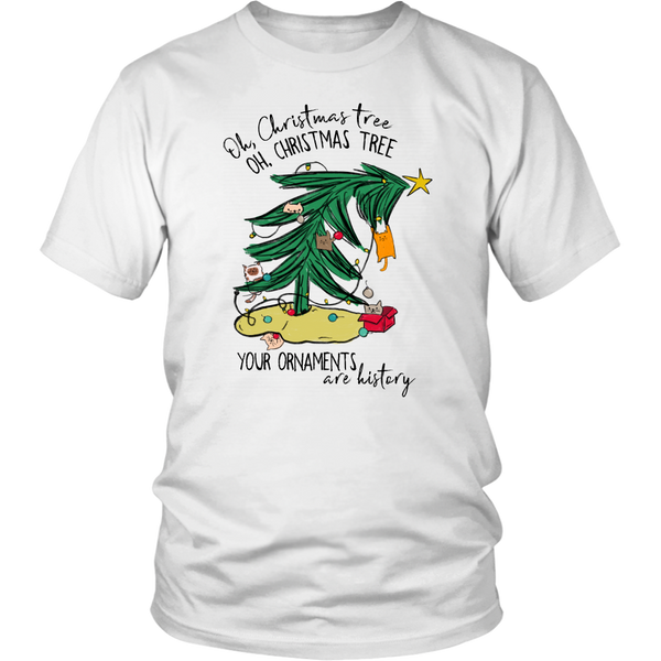 Oh Christmas Tree Your Ornaments are History Cat Unisex Tee