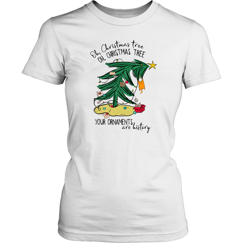 Oh Christmas Tree Your Ornaments are History Cat Fitted Tee