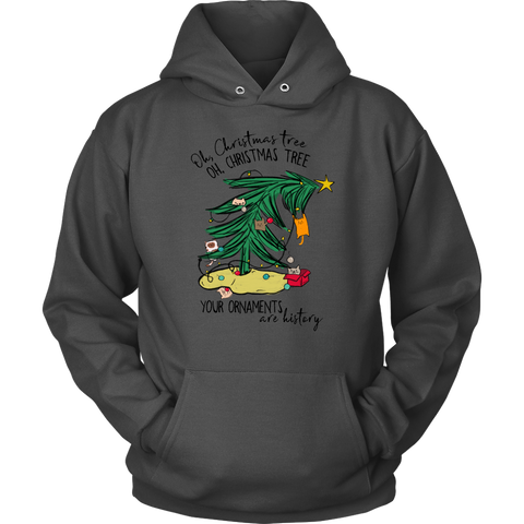 Oh Christmas Tree Your Ornaments are History Cat Hoodie