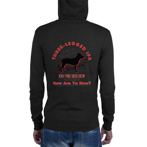 How Are Ya Now Podcast Three Legged Dog IPA Unisex zip hoodie