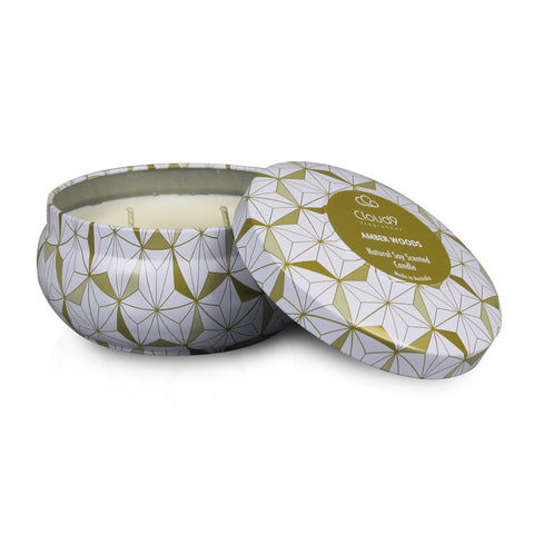 Amber Woods Scented Candle Tin