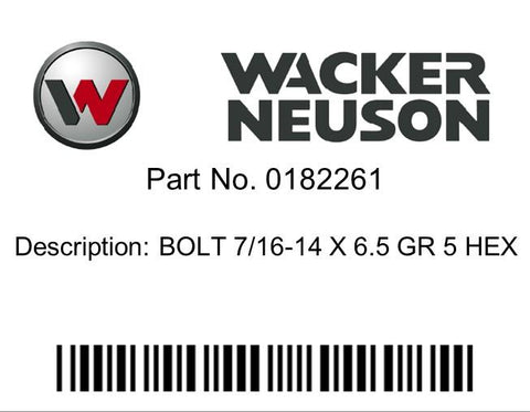 Wacker Neuson : BOLT 7/16-14 X 6.5 GR 5 HEX Part No. 0182261