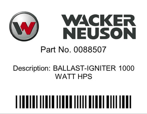 Wacker Neuson : BALLAST-IGNITER 1000 WATT HPS Part No. 0088507