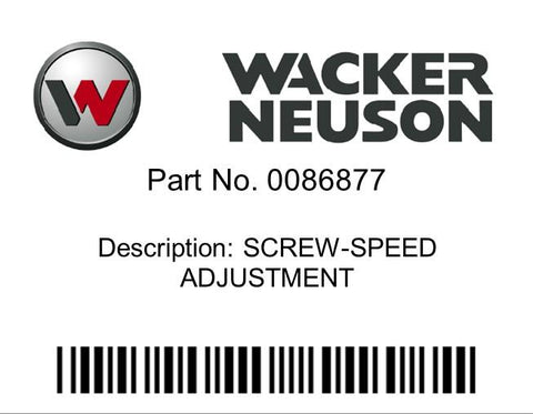Wacker Neuson : SCREW-SPEED ADJUSTMENT Part No. 0086877
