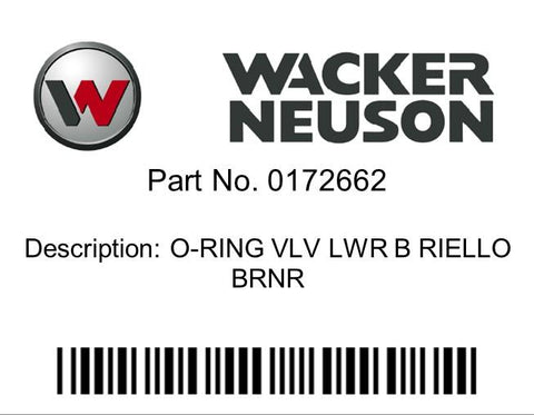 Wacker Neuson : O-RING VLV LWR B RIELLO BRNR Part No. 0172662