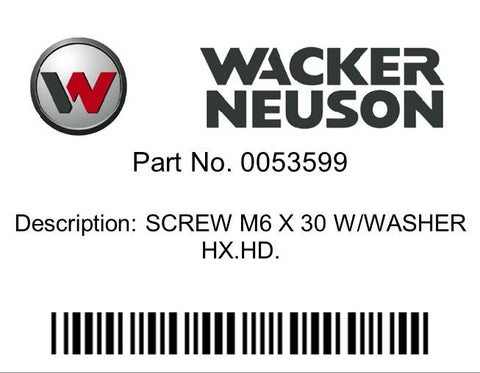 Wacker Neuson : SCREW M6 X 30 W/WASHER HX.HD. Part No. 0053599