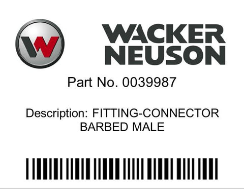 Wacker Neuson : FITTING-CONNECTOR BARBED MALE Part No. 0039987