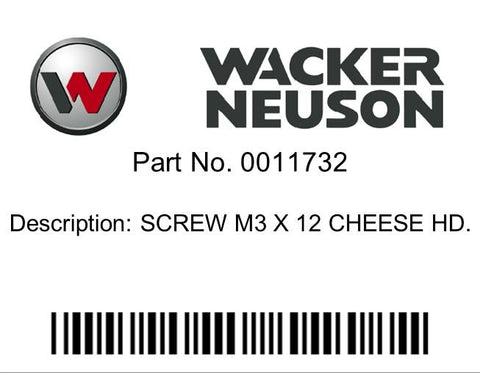 Wacker Neuson : SCREW M3 X 12 CHEESE HD. Part No. 0011732