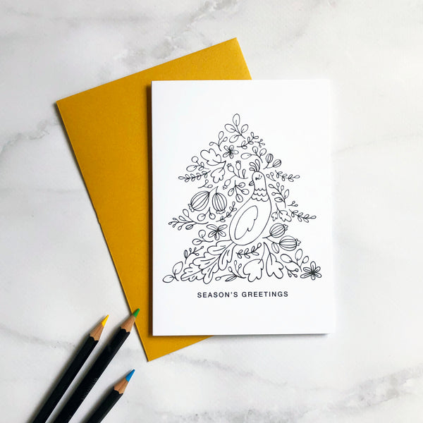 Colour in Christmas Card Bird in Tree (Pack of 4)