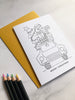 Colour in Christmas Card Festive Car (Pack of 4)
