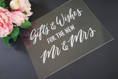 Gifts and Well Wishes Acrylic Etched Sign