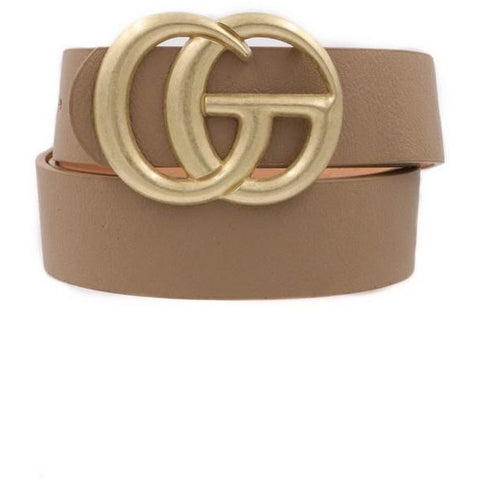 "Hey Girl ""CC"" Belt- Taupe"