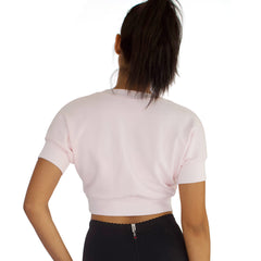 Back view of French Terry crop top in Candy Pink.
