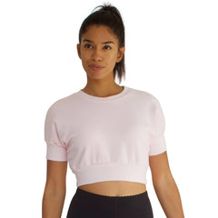 French Terry crew neck crop top with dolman sleeve in Candy Pink