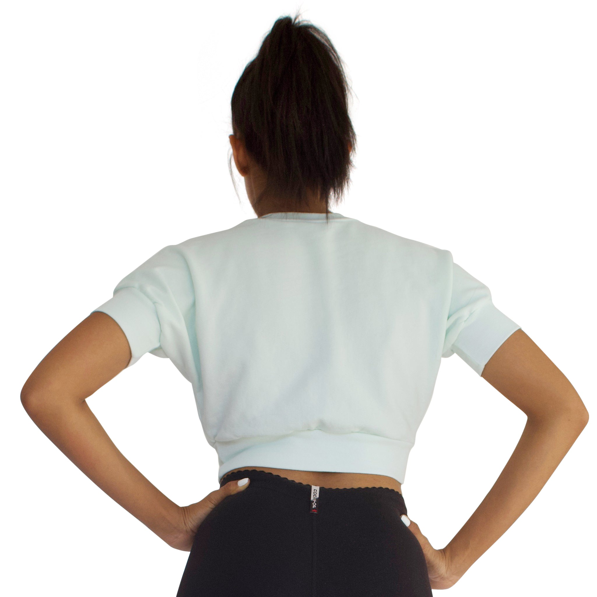 Back view of the French Terry Anita crop top in Mint