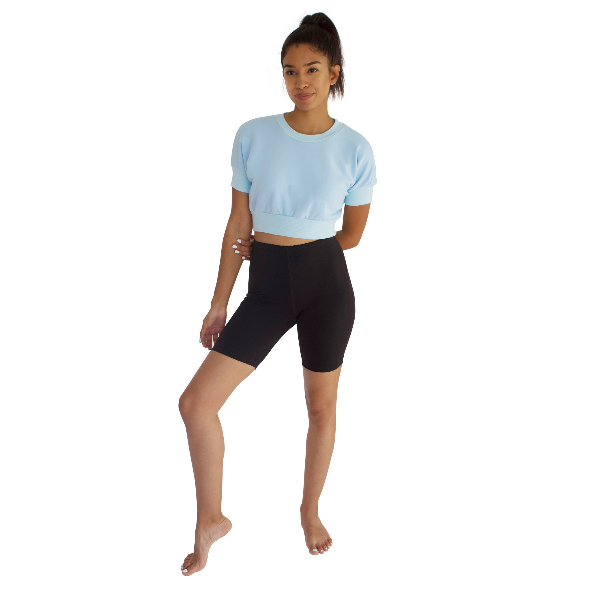 Anita 100% Cotton French Terry Crop - Sky Blue