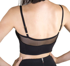 Premium quality black Bralette back view shows mesh panel upper and adjustable straps.