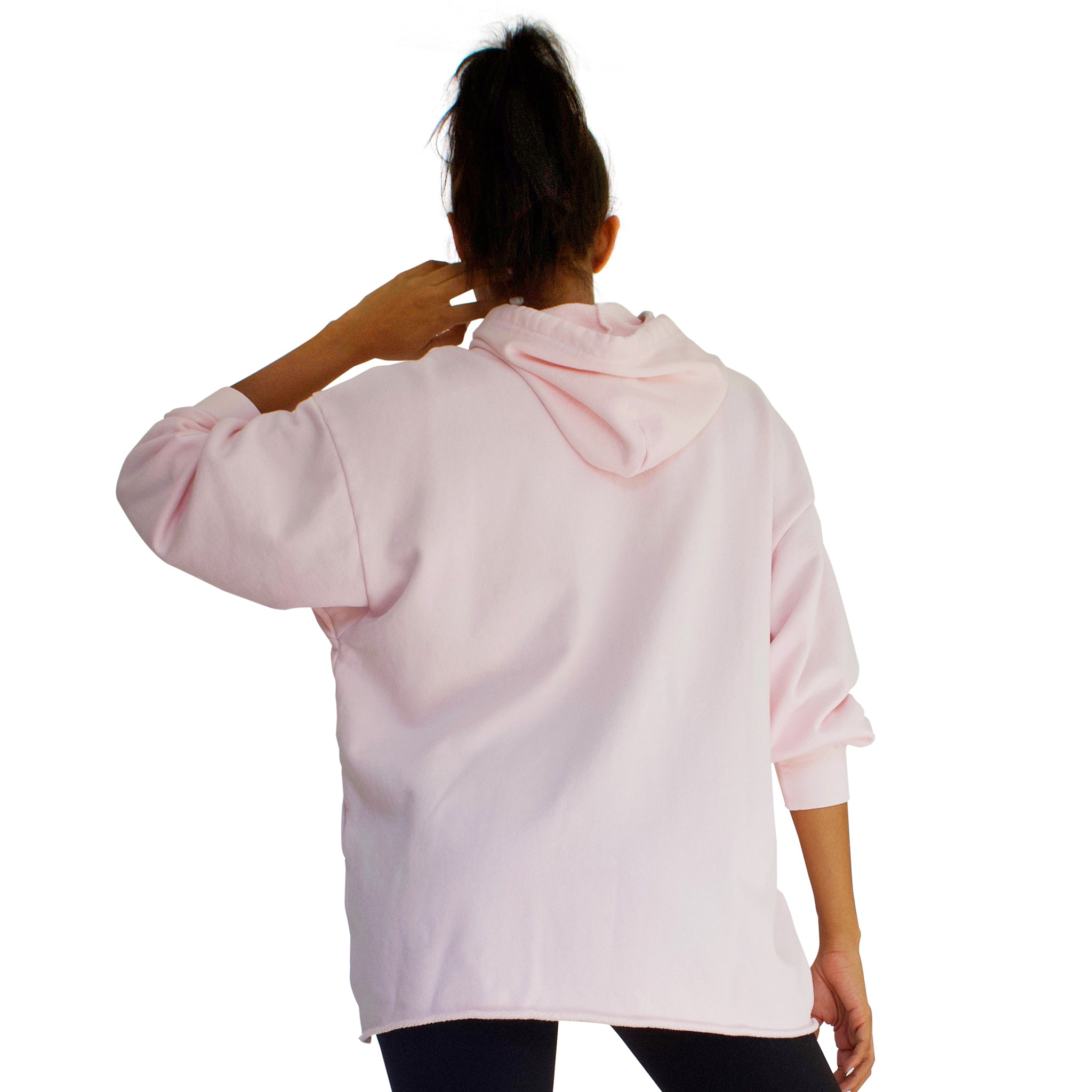 100% cotton French Terry CC Beach Hoodie in Candy Pink back view.