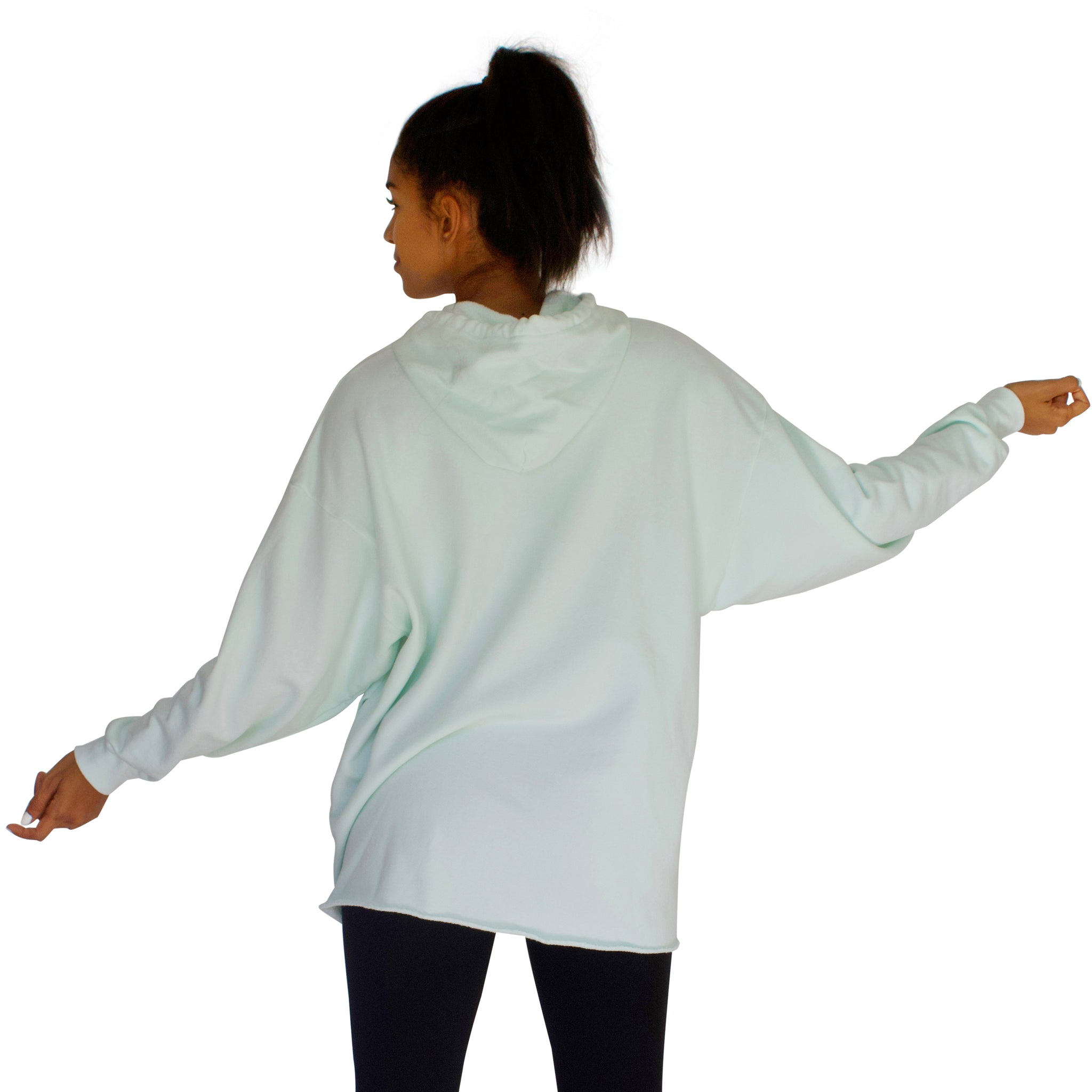 100% cotton French Terry CC Beach Hoodie in Mint back view