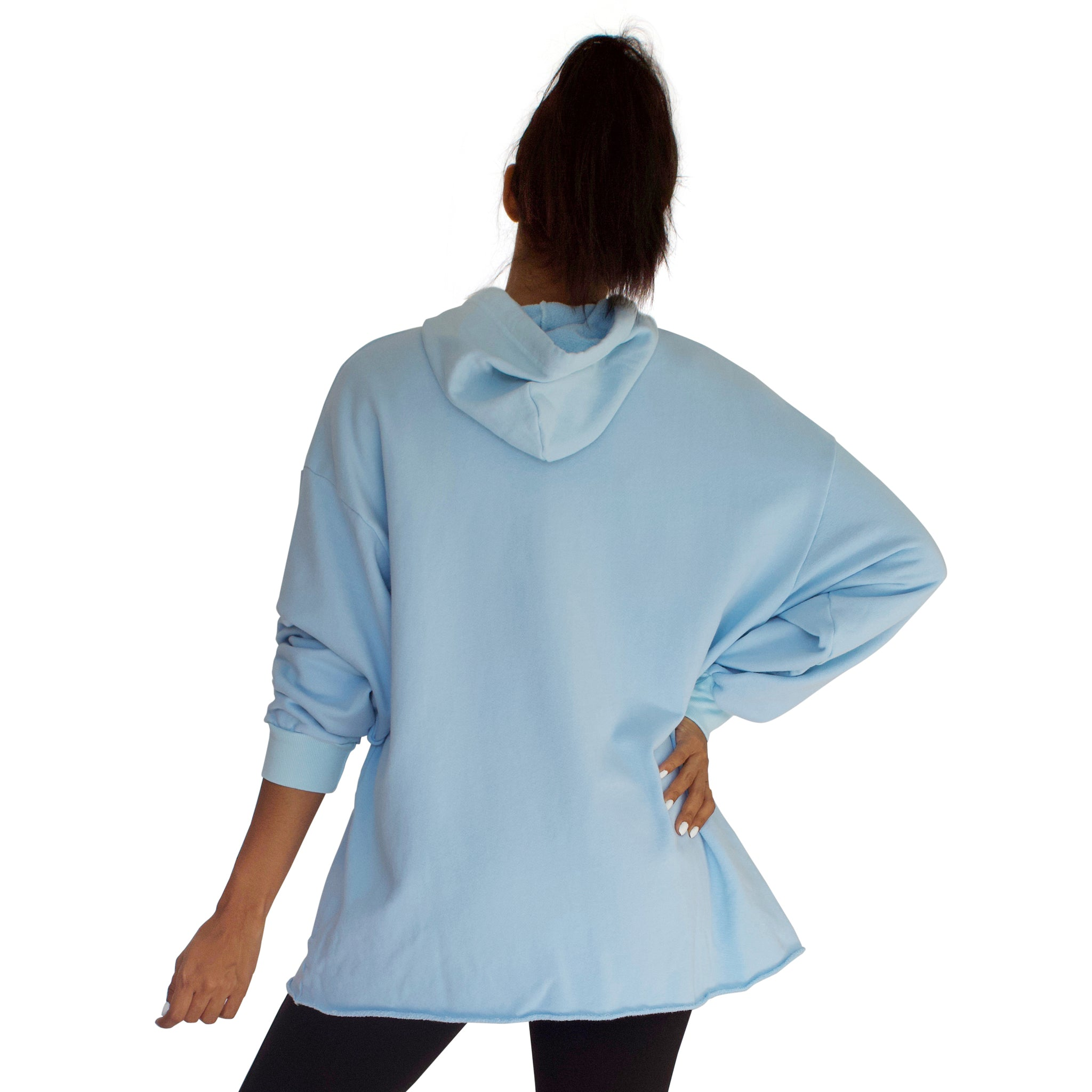 CC Beach Hoodie Pullover in Sky Blue back view