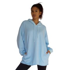 CC stands for comfy and cozy which describes the 100% cotton French Terry CC Beach Hoodie Pullover perfectly, shown here in Sky Blue