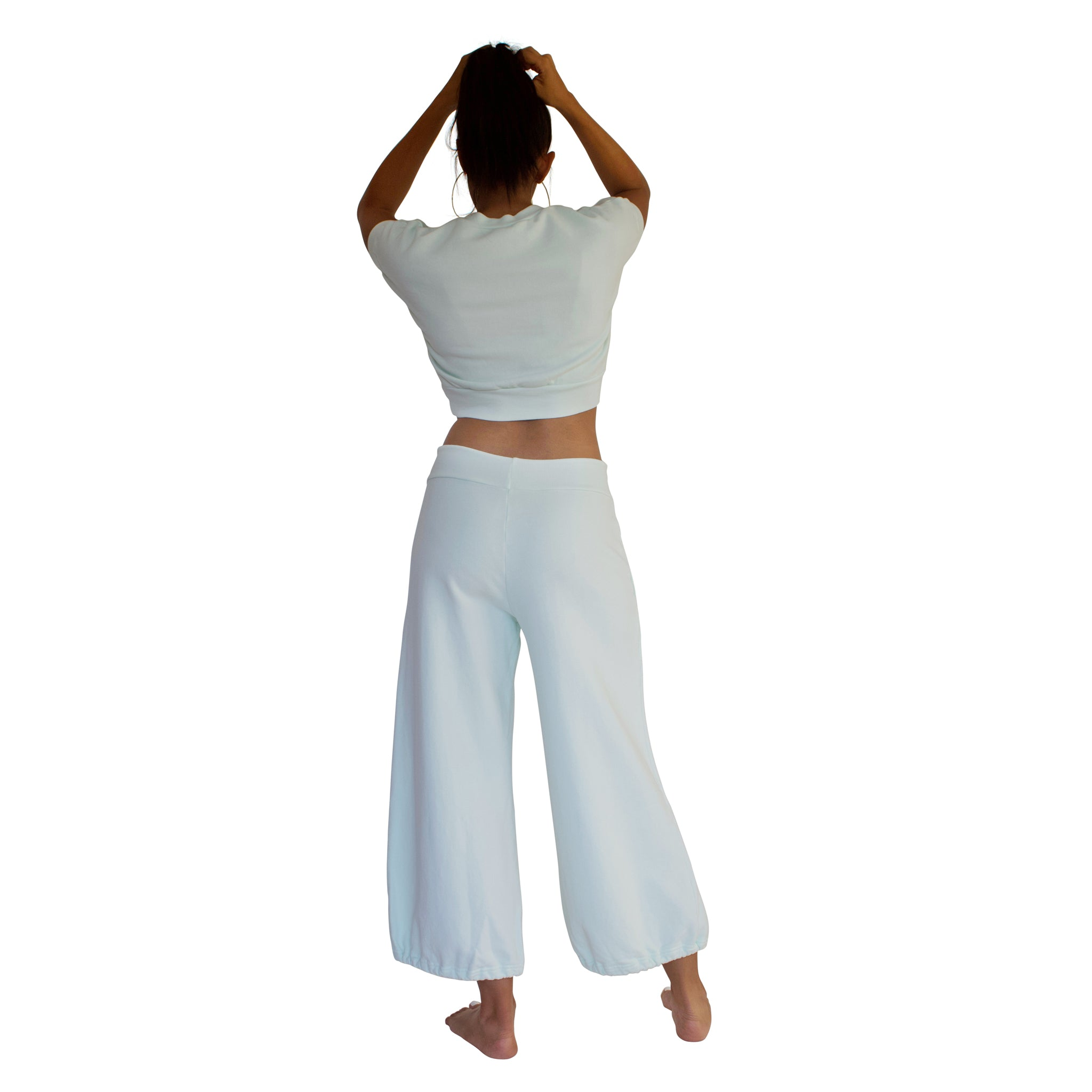 Back view of 100% cotton French Terry CC Beach Pant in Mint Green