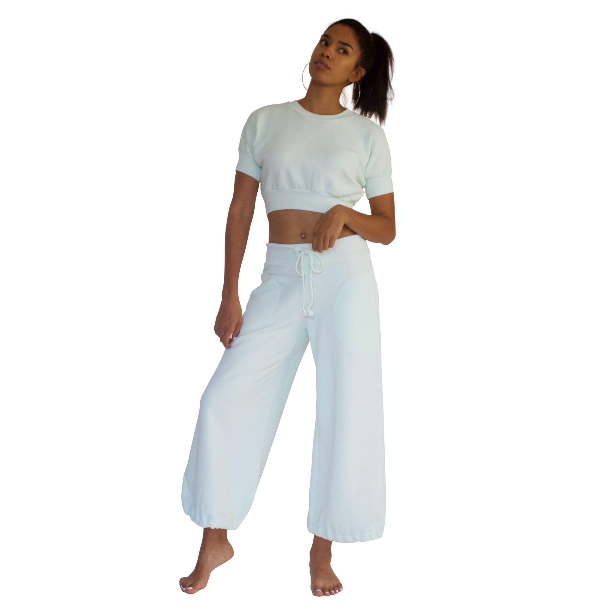 CC Beach Pant in 100% cotton French Terry will keep you comfy and cozy with roomy side seam pockets, drawstring waist, elasticized cuffs shown here in Mint Green.
