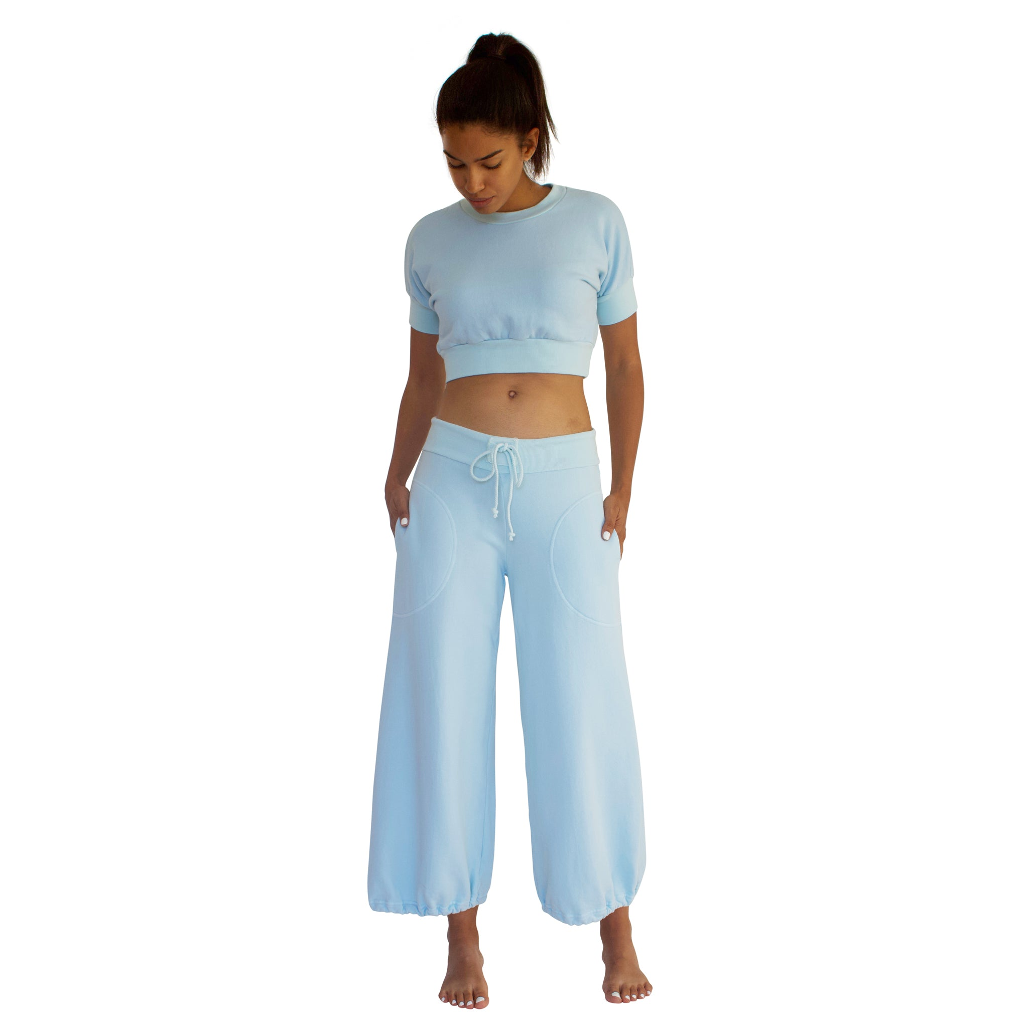 CC Beach Pant in 100% cotton French Terry will keep you comfy and cozy with roomy side seam pockets, drawstring waist, elasticized cuffs shown here in Sky Blue.