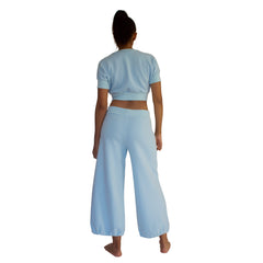 Back view of 100% cotton French Terry CC Beach Pant in Sky Blue.