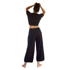Backview of the 100% cotton French Terry CC Beach Pant in Black