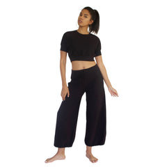 CC Beach Pant in 100% cotton French Terry will keep you comfy and cozy with roomy side seam pockets, drawstring waist, elasticized cuffs shown here in Black.
