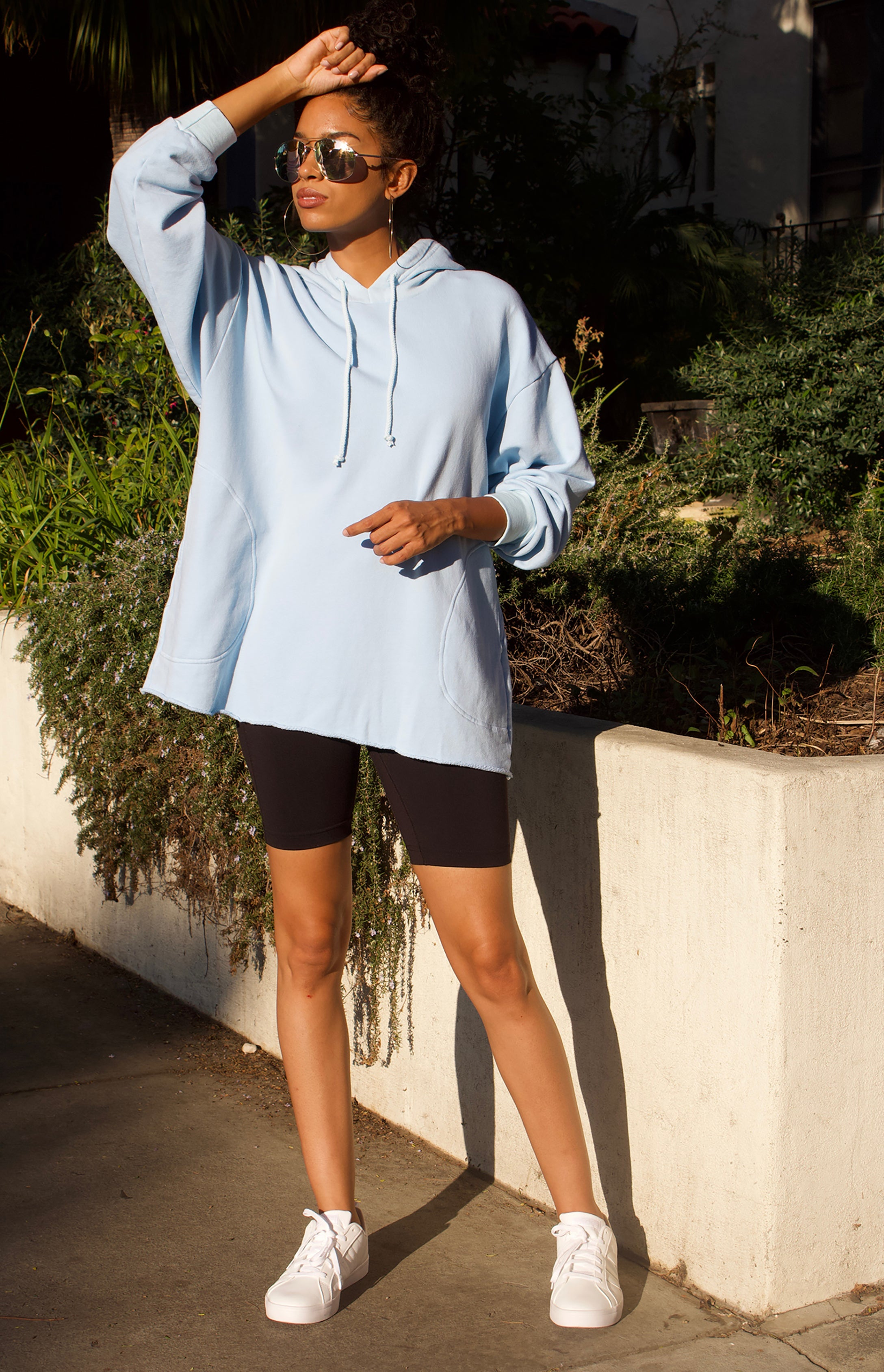 "CC stands for comfy and cozy which describes the 100% cotton French Terry CCBeach Hoodie Pullover perfectly, shown here in Sky Blue. Roomy side seam pockets. Approx 30"" length size M"