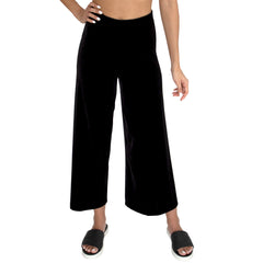 "Front view of our Cropped length Stretch Velvet Track Pant in Jet Black has elastic waist and 26"" inseam"