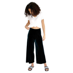 "Cropped length Stretch Velvet Track Pant in Hunter (Dark Green) with elastic waist and 26"" inseam"