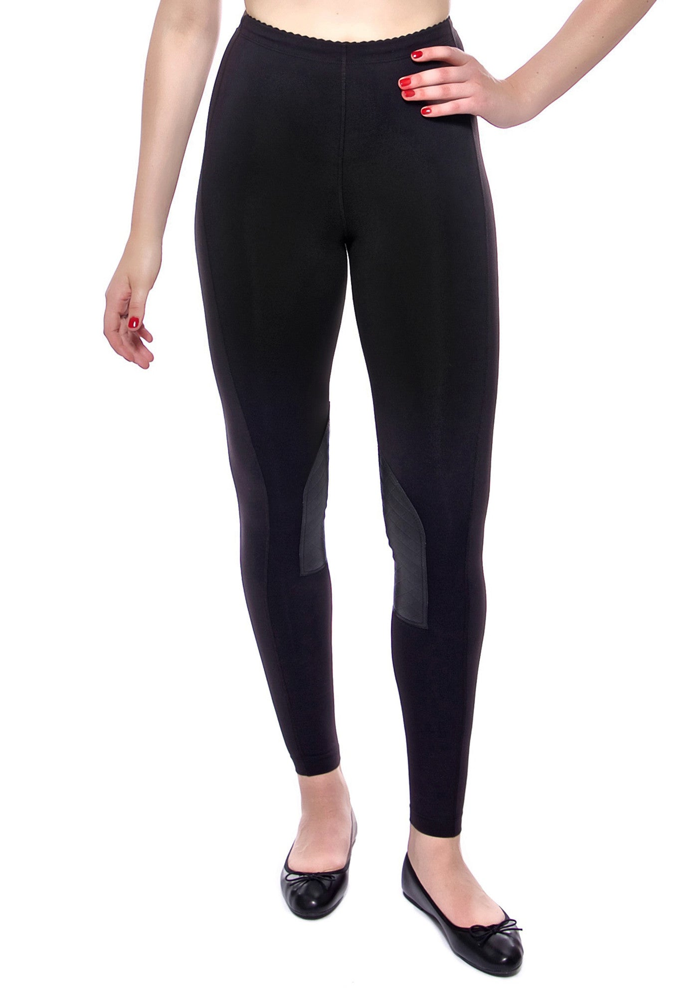 High waisted legging with leather patches at inside knee made from premium activewear fabric that wicks moisture away from the body to keep you comfortable all day. Hidden drawstring at waistband.