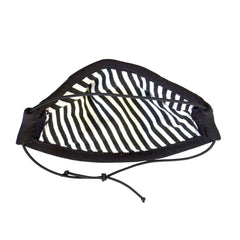 Stay safe and comfortable in our lightweight 100% cotton 5 layer Face Mask in Black with matching elastic adjustable strap, contrast striped lining shown here, soft wire upper, no rough edges.