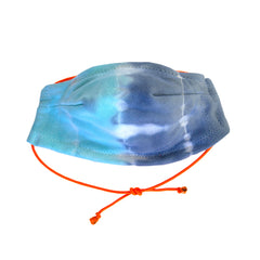 Stay safe and comfortable in our lightweight 100% cotton 5 layer Face Mask in Turq+Denim Domino Tie Dye. Fun orange elastic adjustable strap, soft wire upper, no rough edges.