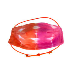 Stay safe and comfortable in our lightweight 100% cotton 5 layer Face Mask in Orange+Fucshia Domino Tie Dye. Fun orange elastic adjustable strap, soft wire upper, no rough edges.