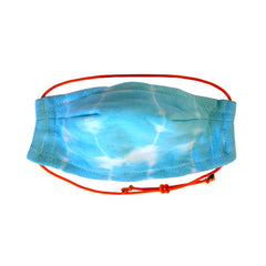 Hand Made 100% Cotton Bamboo tie dyed lightweight 5 layer Face Mask with adjustable strap in Turq.